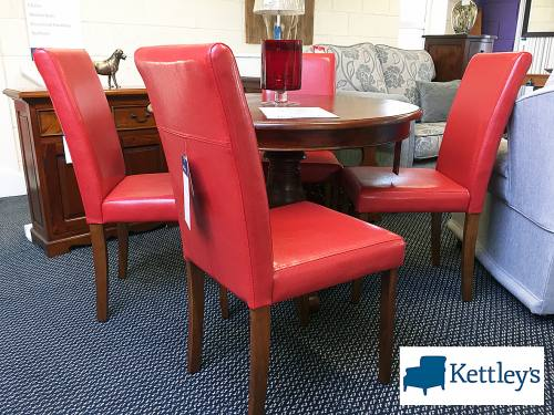 Mahogany Table and 4 Faux Leather Red Chairs Image