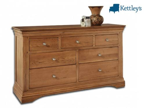 Philippe Solid Oak Rustic 7 Drawer Muti Chest Image