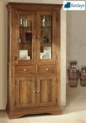 Philippe Solid Oak Rustic Glass Display Cabinet Image